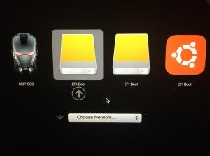 Start Up Manager before installing Ubuntu. Choose the LEFT EFIBoot.